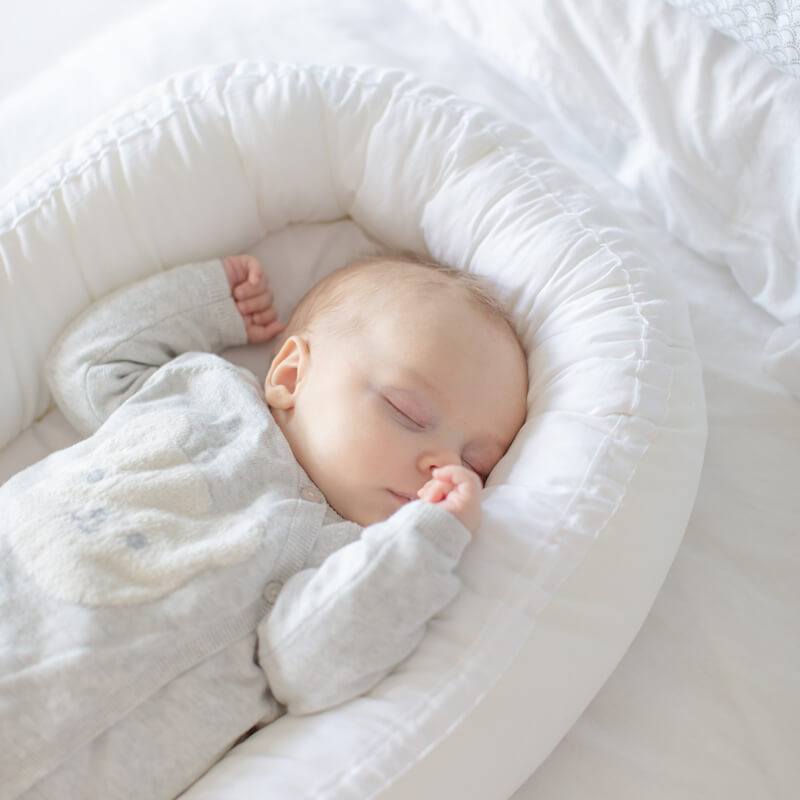 The baby sleeps in a babynest